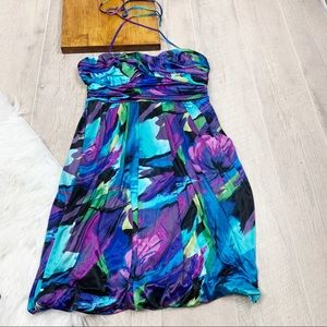 Intrigue Ruched Sleeveless Printed Tie Dress 3161